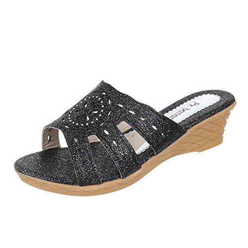 Ital-Design Kinder Schuhe, C-6, Sandalen Pantoletten Schwarz