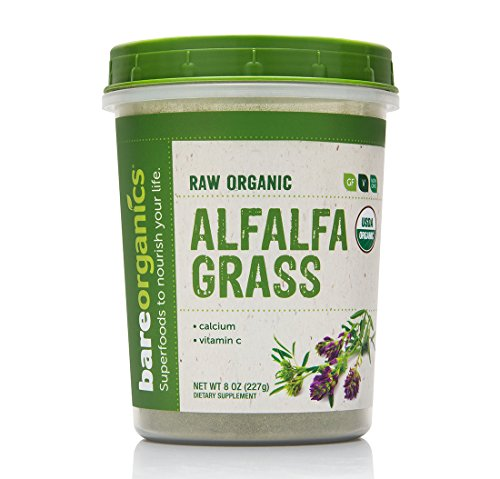 BareOrganics Alfalfa Grass Powder | Raw & Natural Superfood Powder - Organic, Vegan, Gluten-Free & Non-GMO, 8 oz.