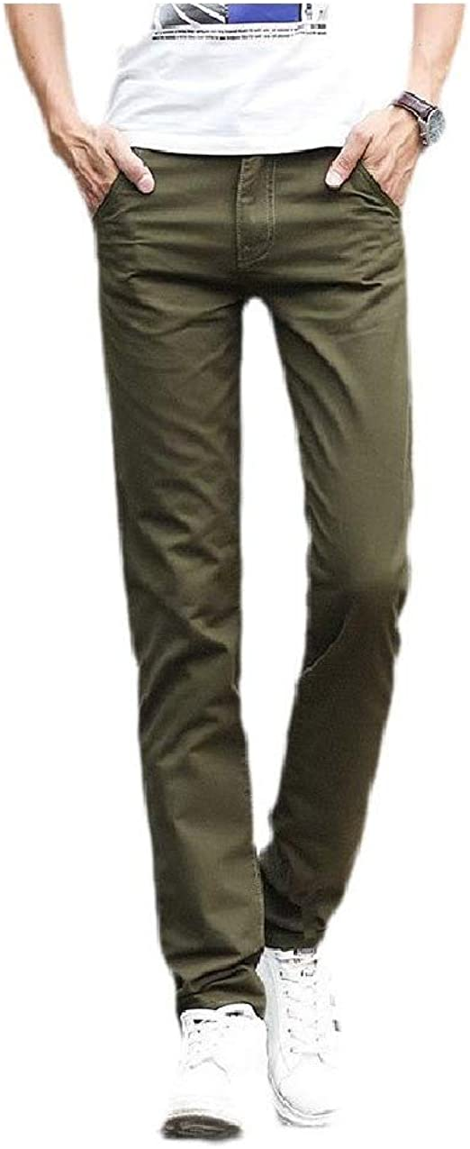 YAXINHE Mens Straight-Fit Cotton Pure Color Thin With Pocket Mid-Rise Work Pant