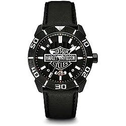Harley-Davidson Men's Bulova Watch, Embossed Bar & Shield, Leather Strap 78B136