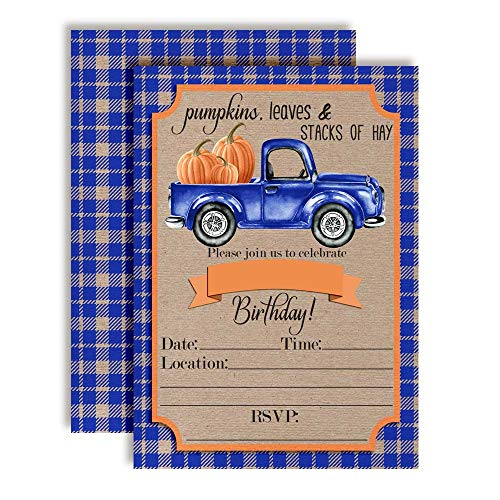 Blue Watercolor Pickup Truck Full of Pumpkins Fall & Autumn Birthday Party Invitations, 20 5