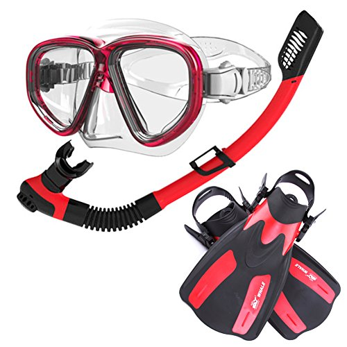 Diving Snorkeling Equipment   Yougeyu Adult Dry Top Snorkel Set With 2 Windows Tempered Glass Diving Mask And Trek Fins  Watertight And Anti Fog Lens Red