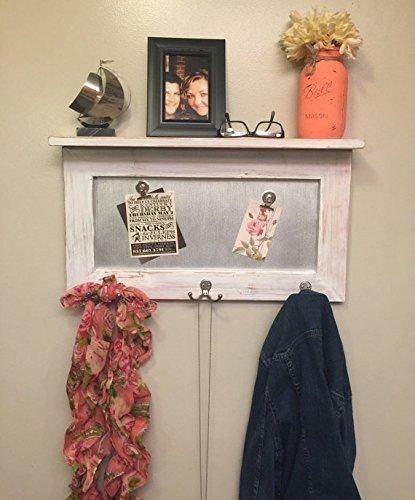 entryway shelf, coat rack, galvanized metal, wood shelf, metal shelf, Rustic Shelf, chippy paint by Country Corner Goods (Image #5)