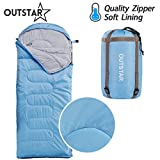 sleeping bag - OUTSTAR Lightweight Waterproof Envelope Sleeping Bag With Compression Sack for Kids or Adults Outdoor Camping, Travelling, Hiking & Backpacking (Lake Blue, Envelope)