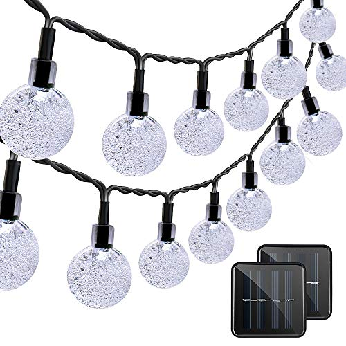 VMANOO Christmas Solar Powered Globe Lights,30 LED (19.7ft) Globe Ball Fairy String Light for Outdoor, Xmas Tree, Garden, Patio, Home, Lawn, Holiday, Wedding Decor, Party 2 Pack (White) from VMANOO