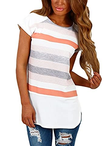 Annflat Women's Color Block Striped Short Sleeve T Shirt Casual Blosue Tops Medium White and Peach - Casual Stripe Pattern Shirts
