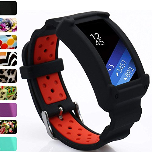 Wonlex Samsung Gear Fit2 Band, Silicone Replacement Watch Bands Strap for Galaxy Gear Fit2 SM-R360 & Fit 2 Pro for Women Men (Black/Red) by wonlex