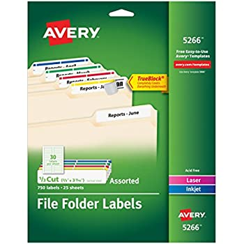 Amazon.com : Avery File Folder Labels in Assorted Colors for Laser ...