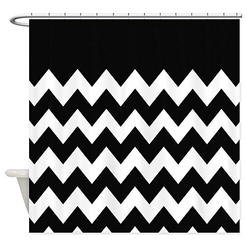 CafePress Black And White Chevron Shower Curtain Decorative Fabric