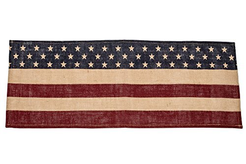 Vintage American Flag Blue Stars Red Stripes 13 x 16 Burlap Table Runner