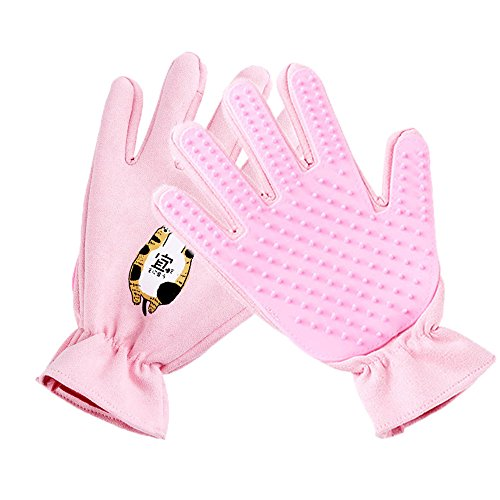 Bluleki Pet Grooming Gloves- Left & Right – For Cats, Dogs & Horses – Hair Remover Glove – Massage Tool with Enhanced Five Finger Design – cat hair remover- ninja glove (Pink)