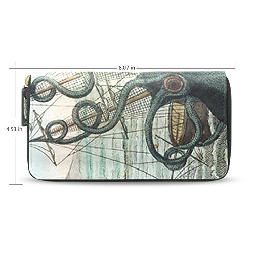 Womens Octopus Pattern Leather Long Wallet & Purse Case Card Holder