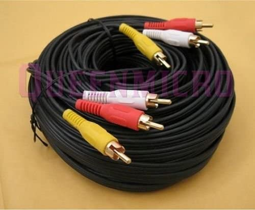 FYL 100FT 3-RCA to 3-RCA COMPOSITE STEREO AUDIO VIDEO GOLD CABLE Male to Male