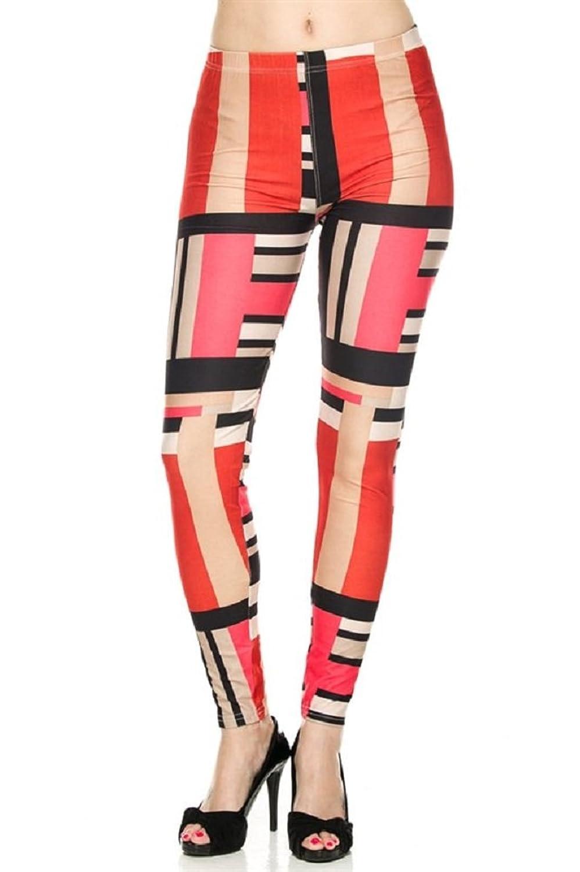 Elegant4U Juniors Pastel Bloc Art Pattern Leggings At Amazon Womens Clothing Store