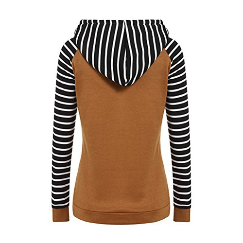Sleeves Autumn Fashion Long Sweatshirt Women Winter Stripe Sweater Brown Women's Maglione Hooded Hoodie Pullover Zhhlaixing Donna dtwBXqt
