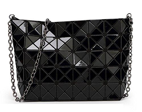 - Kayers Sulliva Women's Fashion Geometric Plaid Cross-body Shoulder Bag Purse with Black Metal Chain Strap(Black)