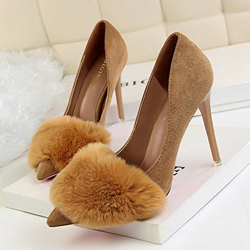 À Peu Hrcxue Noires Velours Plus Femmes Pointus Chaussures 34 Pour Profondes Bout Kaki Aiguilles Rond Talons Et O8ROw