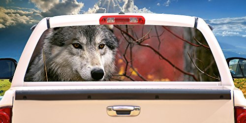 Wolf Window Graphics - GRAY WOLF Rear Window Graphic decal tint truck wolves view thru vinyl