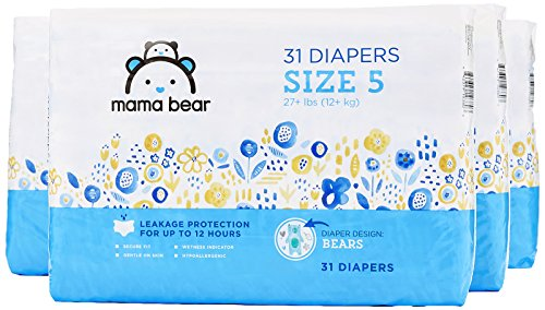 - Amazon Brand - Mama Bear Diapers Size 5, 124 Count, Bears Print (4 packs of 31)