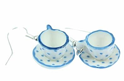 Mugs Teacups Earrings Miniblings Cup Of Coffee Porcelain Ceramic Blue Dots SqwbGaYtAo