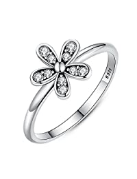 PAHALA 925 Sterling Silver Lovely Flower Crystal Cubic Zirconia Pave Wedding Engagement Band Ring
