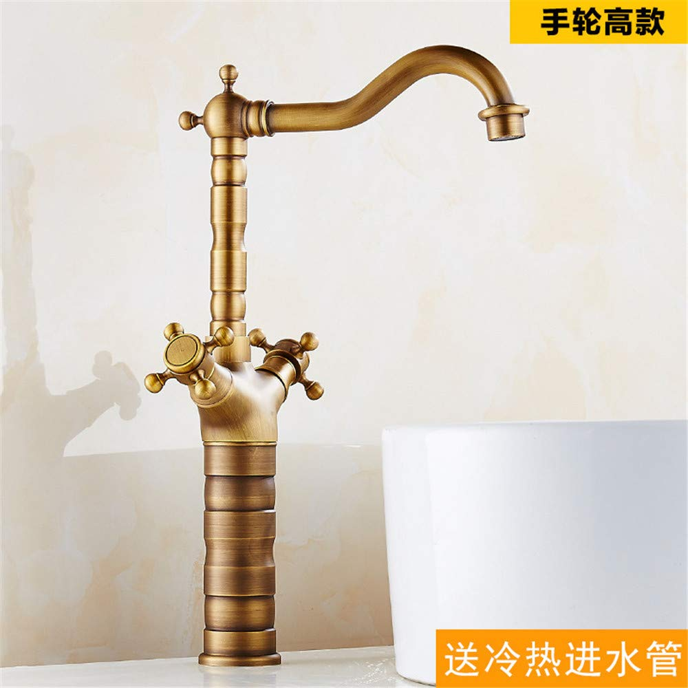 C4 XPYFaucet Faucet Tap Taps Antique hot and cold water retro copper pure copper European bronze brushed basin single hole single height, D1