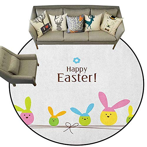 Circular Carpet Super Soft,Easter,Simplistic Cartoon Eggs with Bunny Ears Standing on a Rope Pastel Colored Design, Multicolor,Shoe Scraper Door Mat Living Room Rug5.2 feet ()