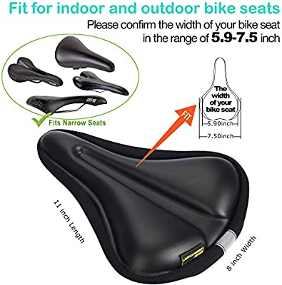 Temple Tape Gel Bike Seat cover Cushion for Spin /& Exercise Stationary bicycles