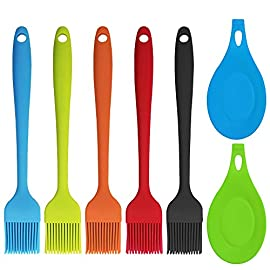YuCool 5 Pack Silicone Basting Brush, Pastry&Basting Oil Brush with 2 Rest for BBQ,Turkey Baster,Cake,Barbecue Utensil,Grilling,Marinating-5 Colors 1 High Quality:100% FDA Approved and hygienic solid silicone with Steel Support inside, will not melt,warp,discolor,or shrink like plastic or wooden brushes. Package:You will get 5 silicone brush and 2 silicone spoon rest,It's very convenient for you to replace,elegant design for kitchen work. Color and Dimension:5 Colors (Black,Blue,Red,Green,Orange),Brush size:8.2in*1.3in;Spoon Rest size:7.9in*3.8in. These beautiful colors will let your kitchen light up soon,keep a colorful and nice kitchen.