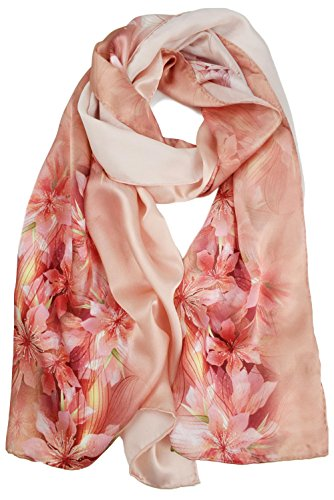 ELEGNA Women's 100% Silk Flower Painting Long Scarf Shawl (Pink Lily) ()