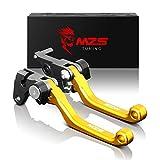 MZS CNC Pivot Brake Clutch Levers for Suzuki DR250R 1996-2000/ DRZ400S DRZ400SM 2000-2017/ DJEBEL250XC 1998-2007 (Gold)
