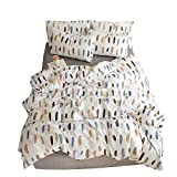 BuLuTu Feather Print Kids Duvet Cover Set Twin Cotton White,Premium Lightweight 3 Pieces Reversible Hotel Boys Girls Bedding Sets Twin Size Zipper Closure Men Women,Soft,Breathable,No Comforter