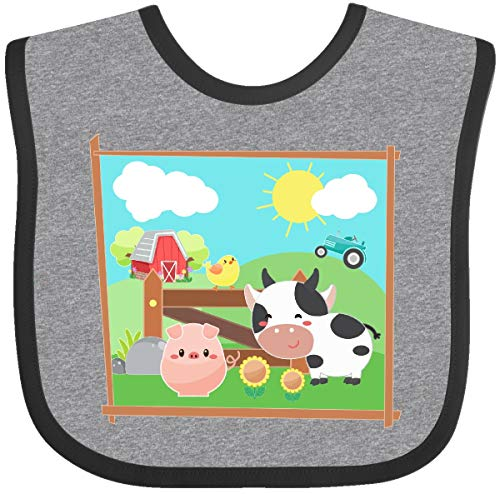 Inktastic - Farm Animals with Cow, Chick & Pig Baby Bib Heather and Black 36503