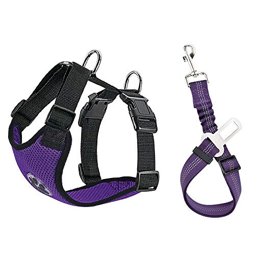 SlowTon Dog Car Harness Plus Connector Strap, Multifunction Adjustable Vest Harness Double Breathable Mesh Fabric with Car Vehicle Safety Seat Belt .(Seatbelt Purple, Medium)