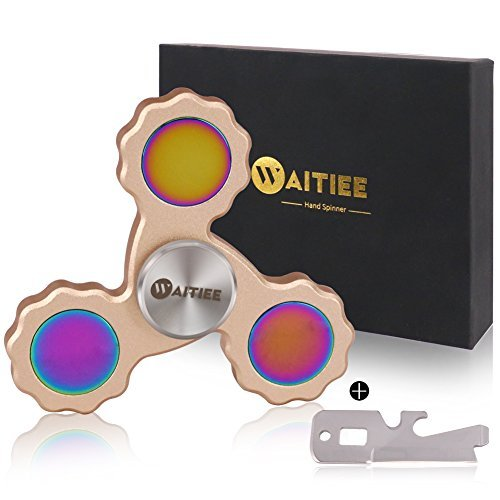 Waitiee Fidget hand Spinner Toy - High Speed Stainless Steel Bearings - Perfect for Increasing Focus, Concentration, killing time . 2 To 5 Min Spin Times (golden)