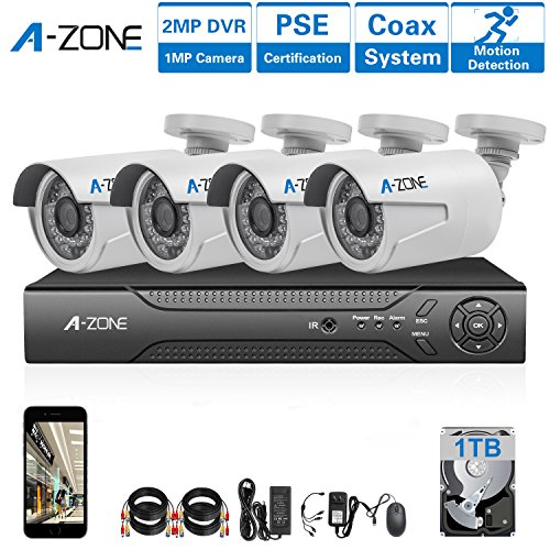 A-ZONE AHD Security Camera Systems 4 Channel DVR Recorder 4 x HD 720P Outdoor Security Cameras Night Vision, Pre-installed 1TB HDD
