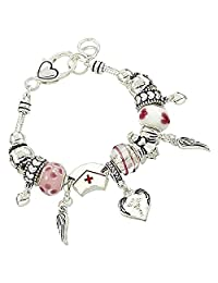 Rosemarie Collections Women's Nurse Silver Tone Pink White Beaded Charm Bracelet