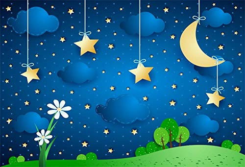 Leowefowa Cartoon Green Hills Starry Sky Backdrop 7x5ft Vinyl Photography Backgroud Baby Shower Girls Birthday Children Party Room Wallpaper Dreamy Backgroud Golden Star Curved Moon Spring View ()