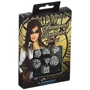 Q-Workshop Steampunk Clockwork Black & White Dice Set (7) Board Games