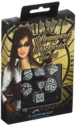 Q WORKSHOP Steampunk Clockwork Black & White Dice Set (7) Board Games 3