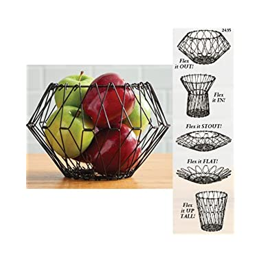 Cobble Creek Flexible Wire Basket for Fruit Bread or Decorative Items, Black