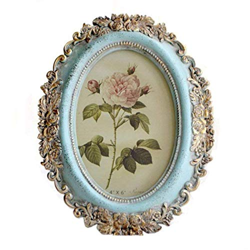 - SIKOO Vintage Picture Frame 4x6 Oval Antique Table Top Wall Mounting Photo Frame for Home Decor, Blue (Flower2)