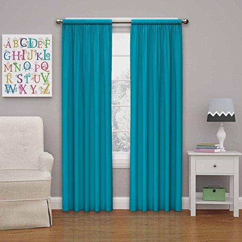 Eclipse Kids Microfiber Blackout Window Curtain Panel, 63-Inch, Rich Teal