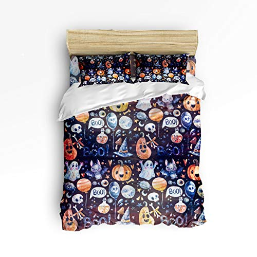 Clouday Full Size Soft 4 Piece Duvet Cover Sets for Christmas,Purple Halloween Pumpkin Bat Balloon Ghost Witch Hat Pattern Bed Sheet Set,Include 1 Flat Sheet 1 Duvet Cover and 2 Pillow Cases