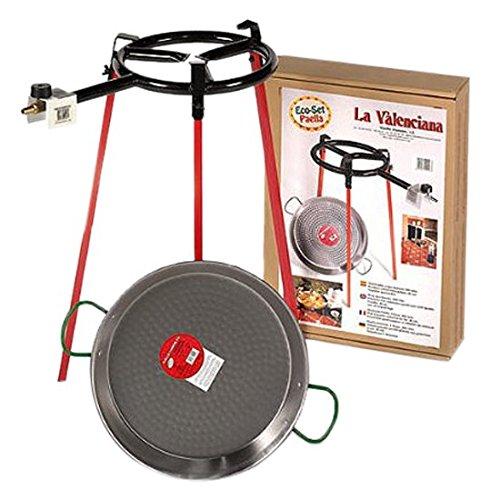 Paella Pan with Gas Burner - Set Includes: 300mm Ring Gas Burner, 38cm Polished Paella Pan, Tripod