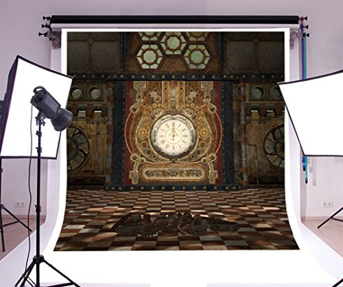 Decorative Black Tile Clock (Laeacco 10x10ft Vinyl Photography Backdrop Shabby Chic Creative Room Corner Metal Clock White and Black Tile Floor Children Baby Adults Portraits Backdrop Steampunk Fantasy Room with Clock and Gears)