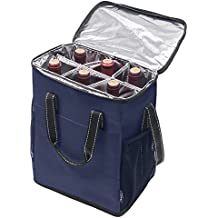 Kato 6 Bottle Wine Carrier - Insulated Wine Carrying Case Cooler Tote Bag Travel or Picnic, Perfect Wine Lover Gift, Blue
