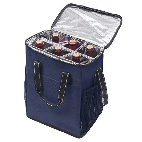 Carrier Wine Bottle Insulated (Kato 6 Bottle Wine Carrier - Insulated Wine Carrying Case Cooler Tote Bag Travel or Picnic, Perfect Wine Lover Gift, Blue)