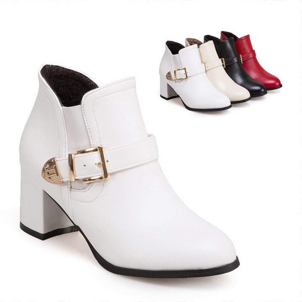 Damenschuhe - Frühling und Herbst mit Martin Stiefeln Stiefelies British Wind - Einzelstiefel Seitlicher Reißverschluss 36-43 (Farbe   Weiß Größe   36)