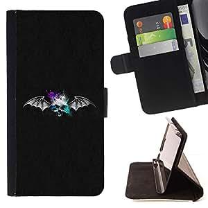 For HTC One Mini 2 M8 MINI Case , Cráneo Bat- la tarjeta de Crédito Slots PU Funda de cuero Monedero caso cubierta de piel